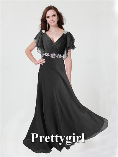 Prom Dresses - 0097 pretty girl V neck wiht sleeve purple grey royal blue elegant party maxi plus size evening dress long 2014 new arrival - Black / 2  jetcube
