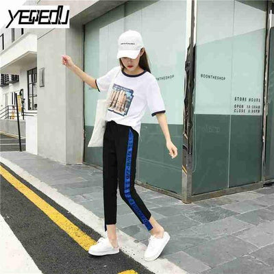 Pants & Capris - #1642 Summer 2017 Loose pantalon femme Punk Thin Side stripe Ankle-length Two side ribbon Casual Hip hop pants Joggers women - Blue / M  jetcube