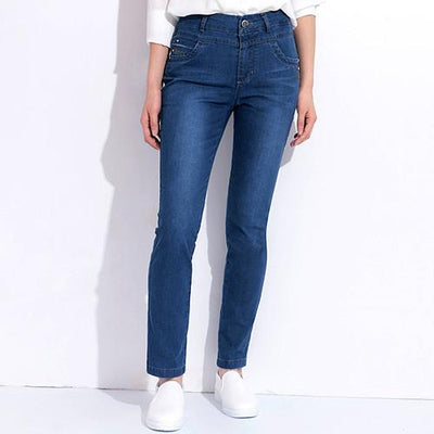 Mom High Waist Jeans Elastic Spring Plus Size Female Jeans Bordados Denim Pants Stretch Classic Clothing For Women GAREMAY 1710