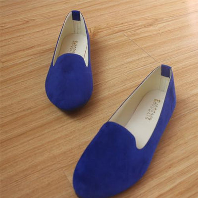 Women's Pumps - 18 Colors 2016 retro style women casual outdoor candy colors suede CASUAL work lady point toe slip round toe shoes  #XE28 - Blue / 10  jetcube