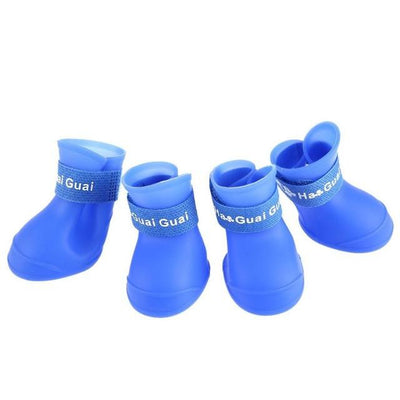 Dog Supplies - 2 Pair Dog Rain Shoes Environmental Dog Cat Rain Shoes Snow-proof Booties Harmless Durable Magic Tape Design Household Supplies - Blue / S  jetcube