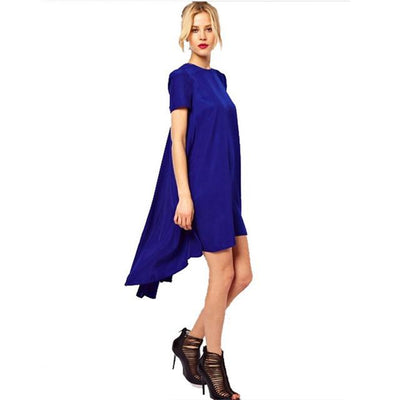 Dresses - 1 Pcs Casual Beach Tunic Women's Black Short Sleeve Dress Irregular Front Short And After Long Party Female Swallow Tail Clothes - Blue / S  jetcube