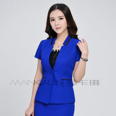 Blazers - 1pcs Women jackets blazers 2017Summer Fashion Cotton blended short sleeves Slim Fit small Suit Jacket Skinny blazers Coat ladies - Blue / S  jetcube