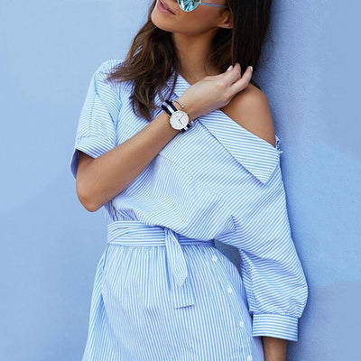 Dresses - 2016 Fashion one shoulder Blue striped women shirt dress Sexy side split Elegant Puff sleeve waistband Casual beach dresses -   jetcube