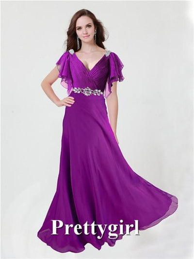 Prom Dresses - 0097 pretty girl V neck wiht sleeve purple grey royal blue elegant party maxi plus size evening dress long 2014 new arrival - Bright Purple / 2  jetcube