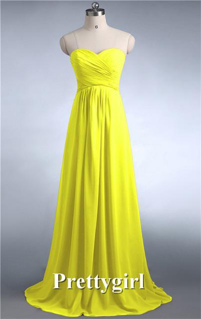 Bridesmaid Dresses - 0039 wine red colored chiffon strapless prom party dresses new fashion 2013 bridesmaid dress long - Bright Yellow 27 / 6  jetcube