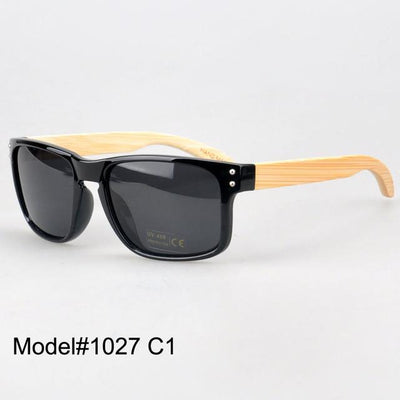 Sunglasses - #1207 man's bamboo nature sunglasses UV400 Polarized lens with spring hinge 6 color choice - C1  jetcube