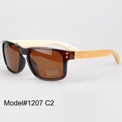 Sunglasses - #1207 man's bamboo nature sunglasses UV400 Polarized lens with spring hinge 6 color choice - C2  jetcube