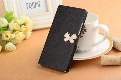 "Fitted Cases - (3 Styles) Flip For Wiko U Feel Lite Case Fashion Pu Leather Flip Cover Capa For Wiko UFeel Lite 5.0"" Fundas Coque Stand Case - CSW Black Butterfly  jetcube"