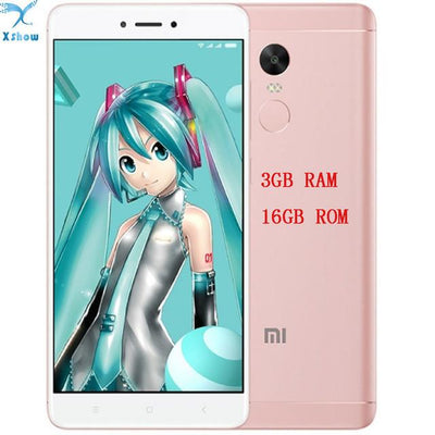 "Cell Phone - 100% Original Xiaomi Redmi note 4X Snapdragon 625 3GB RAM 16GB ROM OCTA Core 5.5 "" 1080P MIUI 8 Fingerprint ID note4 4G FDD LTE - add glassfilmtpucase / Cherry pink  jetcube"