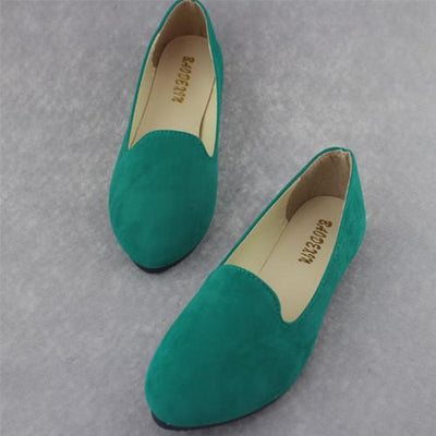 Women's Pumps - 18 Colors 2016 retro style women casual outdoor candy colors suede CASUAL work lady point toe slip round toe shoes  #XE28 - Dark Green / 10  jetcube
