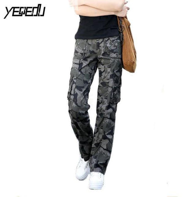 Pants & Capris - #0905 Spring Summer 2017 Women camouflage pants Casual Female Fashion Military Hip hop trousers women Baggy Cargo pants women - Dark Grey / S  jetcube