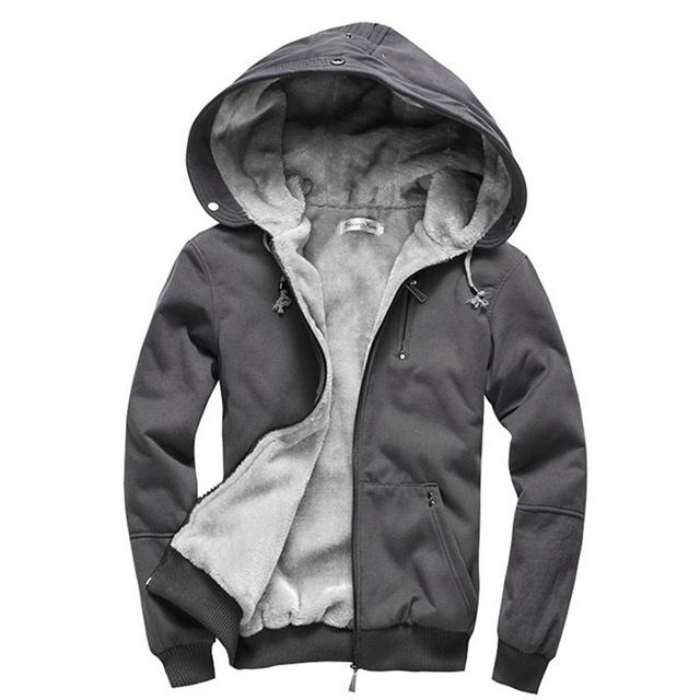 Parka - (Plus Size M-4XL)2016 High Quality Wool Liner Men's Hooded Parkas Men With Thick Keep Warm Coats Winter Men Hoodies - Dark Grey / M  jetcube
