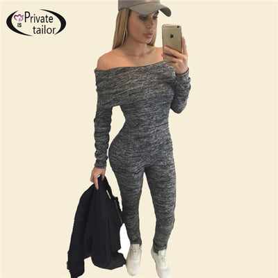 Jumpsuits - 100% Top-grade Knitted Cotton Off Shoulder long sleeve 2016 bandage playsuit sexy jumpsuit tight fitted gray club denim bodysuit - Dark Grey / L  jetcube