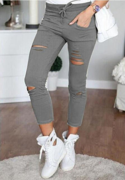 Pants & Capris - 2016 Fashion Women Pants Hollow Out Pants Women Sweatpants Cargo Jogger Pants Skinny Stretch Slim Fit Army Green Pencil Pants - Dark Grey / L  jetcube