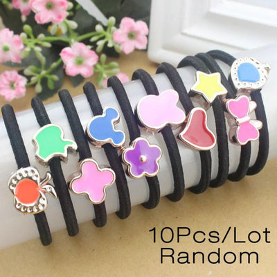 Hair Accessories - 10 Pcs New Korean Fashion Women Hair Accessories Cute Black Elastic Hair Bands Girl Hairband Hair Rope Gum Rubber Band E10093 - E10290  jetcube