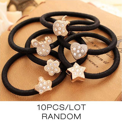 Hair Accessories - 10 Pcs New Korean Fashion Women Hair Accessories Cute Black Elastic Hair Bands Girl Hairband Hair Rope Gum Rubber Band E10093 - E10292  jetcube