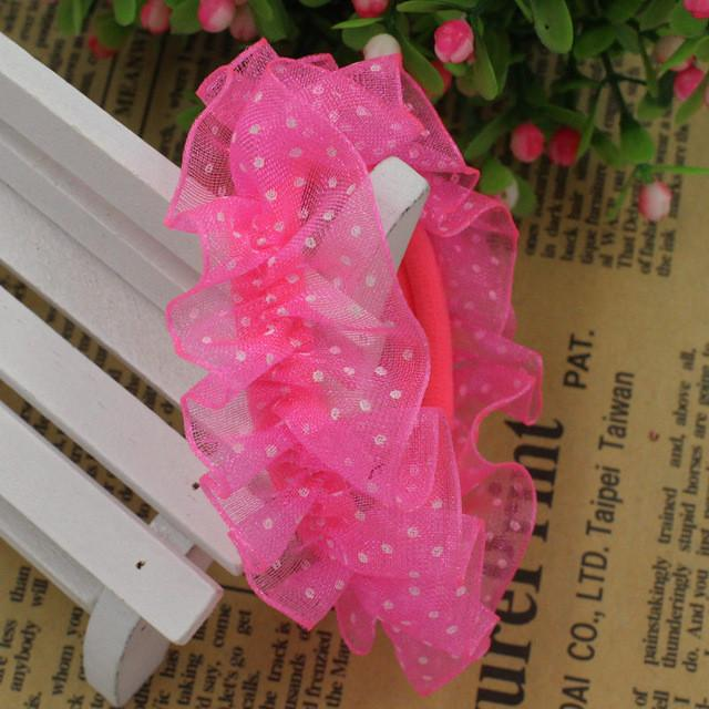 Hair Accessories - 10pcs/lot Lace Hair Holders Elastics 2016 New 12 Colours Fashion Candy Colours Child Girls' Rubberbands Tie Gum Hair Accessories - Fluorescent Pink  jetcube