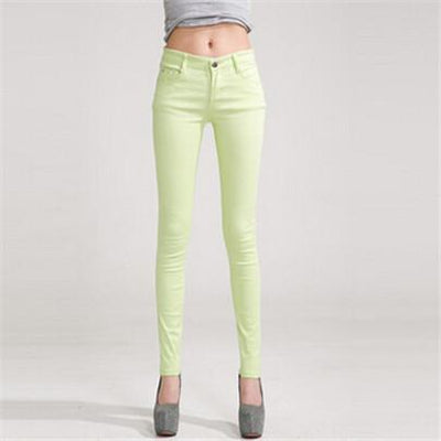 - 18 Colors Jeans 2017 New Sexy Women Pants Spring Summer Fashion Pencil Pant Lady Skinny Long Candy Color Plus Size Trousers K104 - Fluorescent green / 25  jetcube