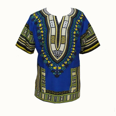 T-Shirts - (fast shipping) 2016 Newest Fashion Design African Traditional Print 100% Cotton Dashiki T-shirt for unisex - GC blue / L  jetcube