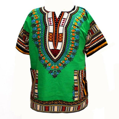 T-Shirts - (fast shipping) 2016 Newest Fashion Design African Traditional Print 100% Cotton Dashiki T-shirt for unisex - GC green / L  jetcube