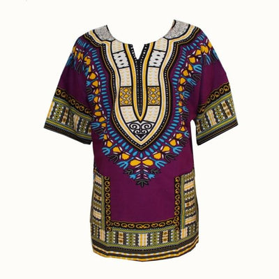 T-Shirts - (fast shipping) 2016 Newest Fashion Design African Traditional Print 100% Cotton Dashiki T-shirt for unisex - GC purple / L  jetcube
