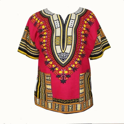 T-Shirts - (fast shipping) 2016 Newest Fashion Design African Traditional Print 100% Cotton Dashiki T-shirt for unisex - GC rose / L  jetcube