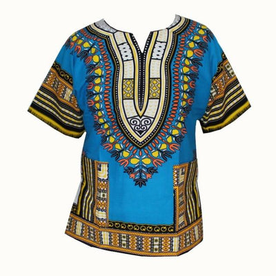 T-Shirts - (fast shipping) 2016 Newest Fashion Design African Traditional Print 100% Cotton Dashiki T-shirt for unisex - GC skyblue / L  jetcube
