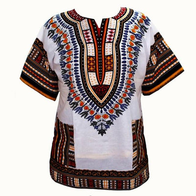 T-Shirts - (fast shipping) 2016 Newest Fashion Design African Traditional Print 100% Cotton Dashiki T-shirt for unisex - GC white / L  jetcube