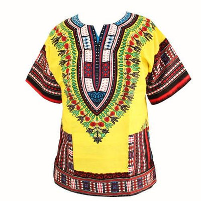 T-Shirts - (fast shipping) 2016 Newest Fashion Design African Traditional Print 100% Cotton Dashiki T-shirt for unisex - GC yellow Red / L  jetcube