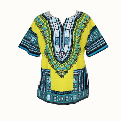T-Shirts - (fast shipping) 2016 Newest Fashion Design African Traditional Print 100% Cotton Dashiki T-shirt for unisex - GC yellow blue / L  jetcube