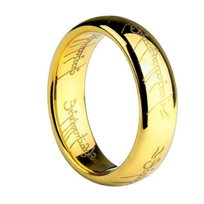 Mens Gold - (1 pieces/lot) 100% Titanium Ring Men Wedding band rings woman Lord Rings Classic Engagement Ring Gold Silver Black - 5 / Gold  jetcube