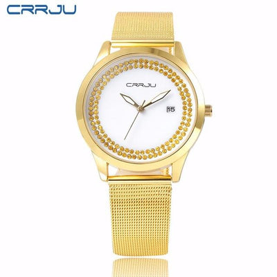 Women's Watches - 2016 High Quality Watch Relogio Feminino Luxury Brand Women Dress Watches Steel Quartz Watch Diamonds Gold Watches Womans Waches - Golden  jetcube