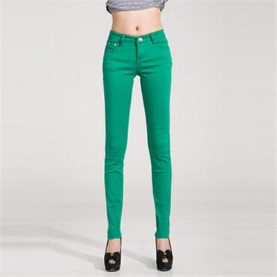 - 18 Colors Jeans 2017 New Sexy Women Pants Spring Summer Fashion Pencil Pant Lady Skinny Long Candy Color Plus Size Trousers K104 - Grass green / 25  jetcube