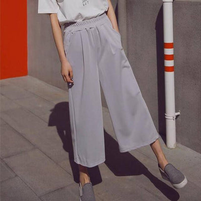 Pants & Capris - #1624 Spring summer Chiffon High waist Casual wide leg pants women Ankle-length Bell bottom pants Wide trousers Pantalon femme - Gray / S  jetcube