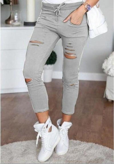 Pants & Capris - 2016 Fashion Women Pants Hollow Out Pants Women Sweatpants Cargo Jogger Pants Skinny Stretch Slim Fit Army Green Pencil Pants - Gray / L  jetcube
