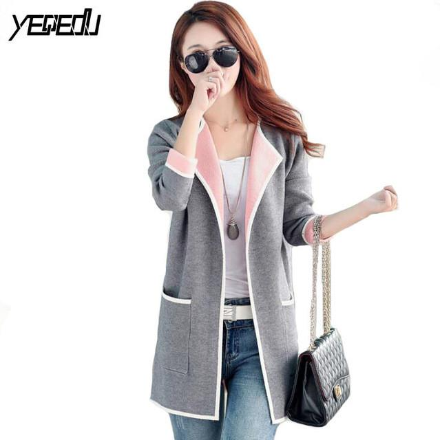 #4009 2017 Woman spring coat Grey/pink Long trench coat Big size Knitted Open stitch Female trench coat Windbreaker Cardigan 4XL - Jetcube