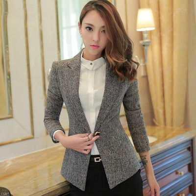 Coats - 1pcs Women's slim fit OL jacket blazers 2017 Summer Cotton linen blended small Suit Jackets ladies Skinny blazers Coats girls - Gray / S  jetcube