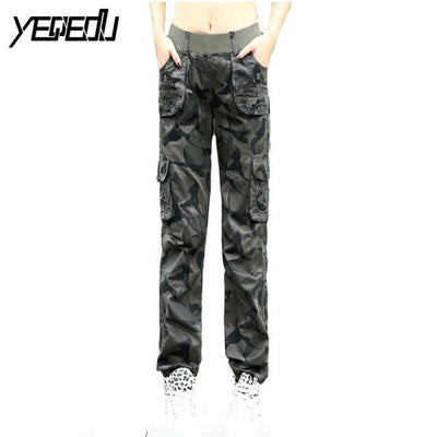 Pants & Capris - #0904 2017 Summer Camouflage pants women Cargo pants women Military trousers Fashion Casual Loose Baggy pants Army women S-XXXL - Gray / S  jetcube