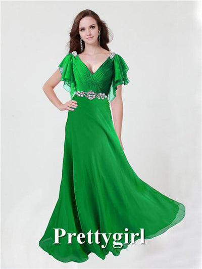 Prom Dresses - 0097 pretty girl V neck wiht sleeve purple grey royal blue elegant party maxi plus size evening dress long 2014 new arrival - Green 2 / 2  jetcube