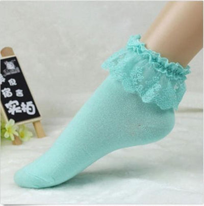 Socks - 2016 Fashionable Lovely Cute Fashion Women Vintage Lace Ruffle Frilly Ankle Socks Lady Princess Girl Favorite 5 Color Available - Green  jetcube