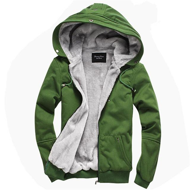 Parka - (Plus Size M-4XL)2016 High Quality Wool Liner Men's Hooded Parkas Men With Thick Keep Warm Coats Winter Men Hoodies - Green / M  jetcube