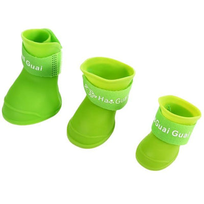 Dog Supplies - 2 Pair Dog Rain Shoes Environmental Dog Cat Rain Shoes Snow-proof Booties Harmless Durable Magic Tape Design Household Supplies - Green / S  jetcube