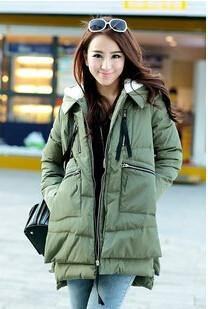 Down Coats - 2015   Winter New Korean Women Thick Down Jacket And Long Loose Coat Thick Warm Coat Casual Uniforms - Green / L  jetcube