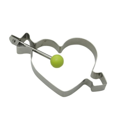 Drinkware - 1Pc Stainless Steel Egg Pancake Maker Egg Mold Cooking Tools Ring Heart Flower Kitchen Gadget Pancake Mold - Green heart  jetcube