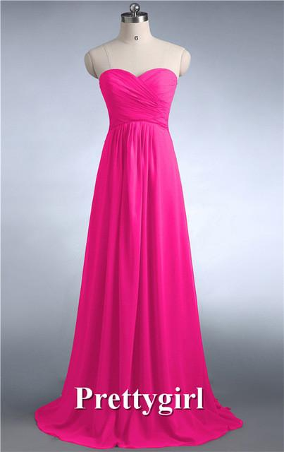 Bridesmaid Dresses - 0039 wine red colored chiffon strapless prom party dresses new fashion 2013 bridesmaid dress long - Hot Pink 4 / 6  jetcube