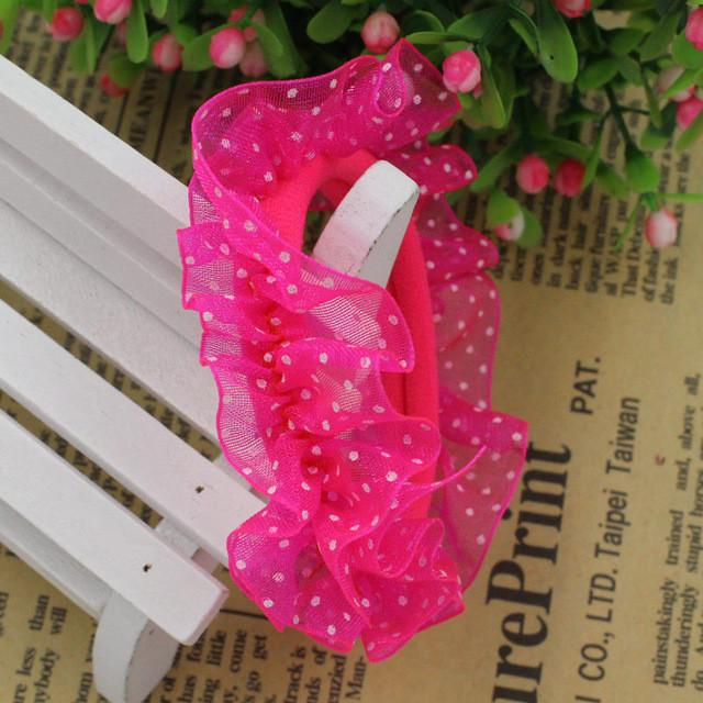 Hair Accessories - 10pcs/lot Lace Hair Holders Elastics 2016 New 12 Colours Fashion Candy Colours Child Girls' Rubberbands Tie Gum Hair Accessories - Hot Pink  jetcube