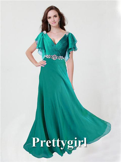 Prom Dresses - 0097 pretty girl V neck wiht sleeve purple grey royal blue elegant party maxi plus size evening dress long 2014 new arrival - Jade green 131 / 2  jetcube