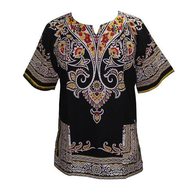 T-Shirts - (fast shipping) 2016 Newest Fashion Design African Traditional Print 100% Cotton Dashiki T-shirt for unisex - Kblack / L  jetcube