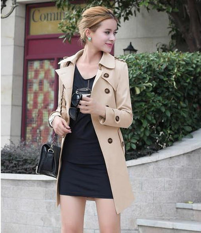 Blazers - 1PC Trench Coat For Women Double Breasted Slim Fit Long Spring Coat Casaco Feminino Abrigos Mujer Autumn Outerwear Z505 - Khaki / XXL  jetcube